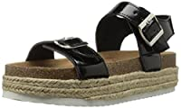 Qupid Womens Platform Sandals, Black, Size 5