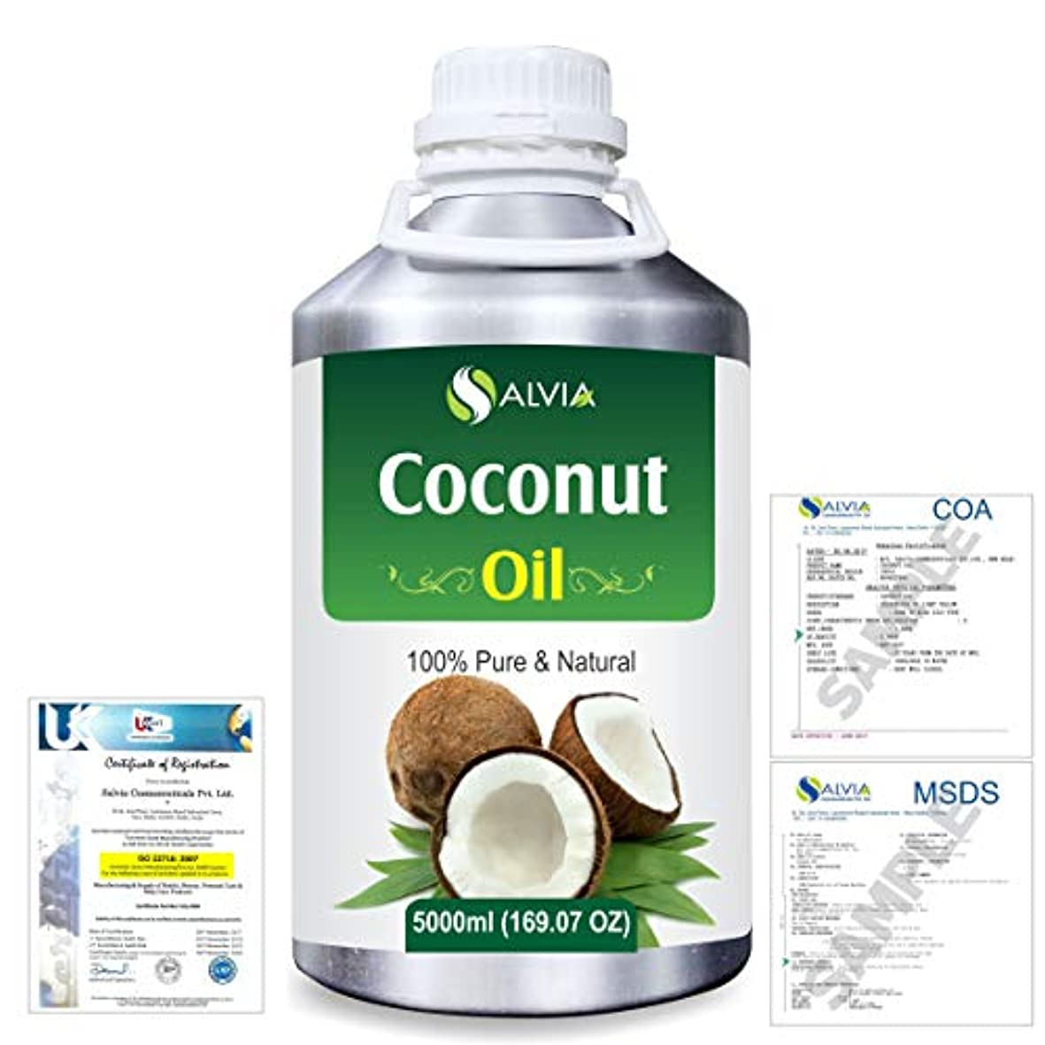 デンマークミントかすかなCoconut (Cocos nucifera) Natural Pure Undiluted Uncut Carrier Oil 5000ml/169 fl.oz.