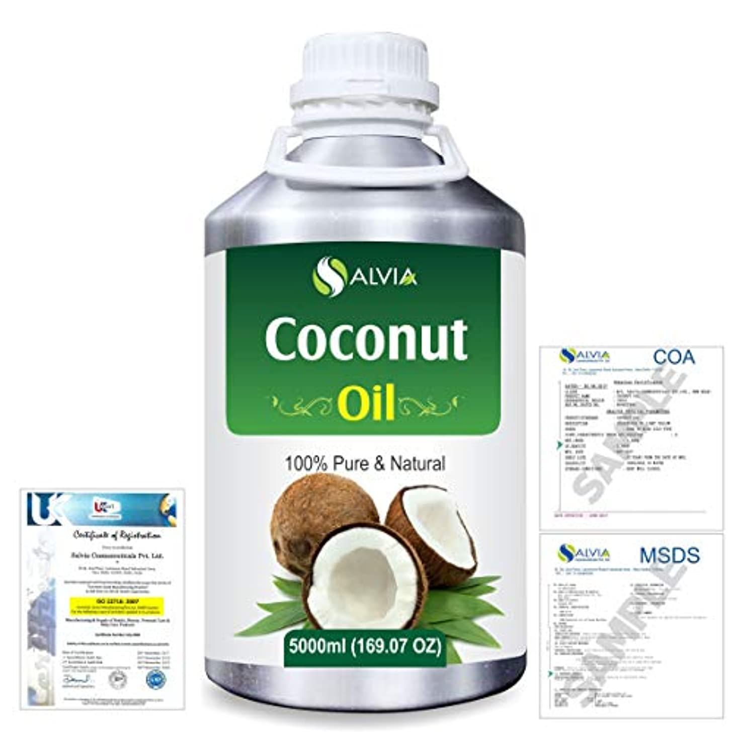 巻き取りできたかんがいCoconut (Cocos nucifera) Natural Pure Undiluted Uncut Carrier Oil 5000ml/169 fl.oz.