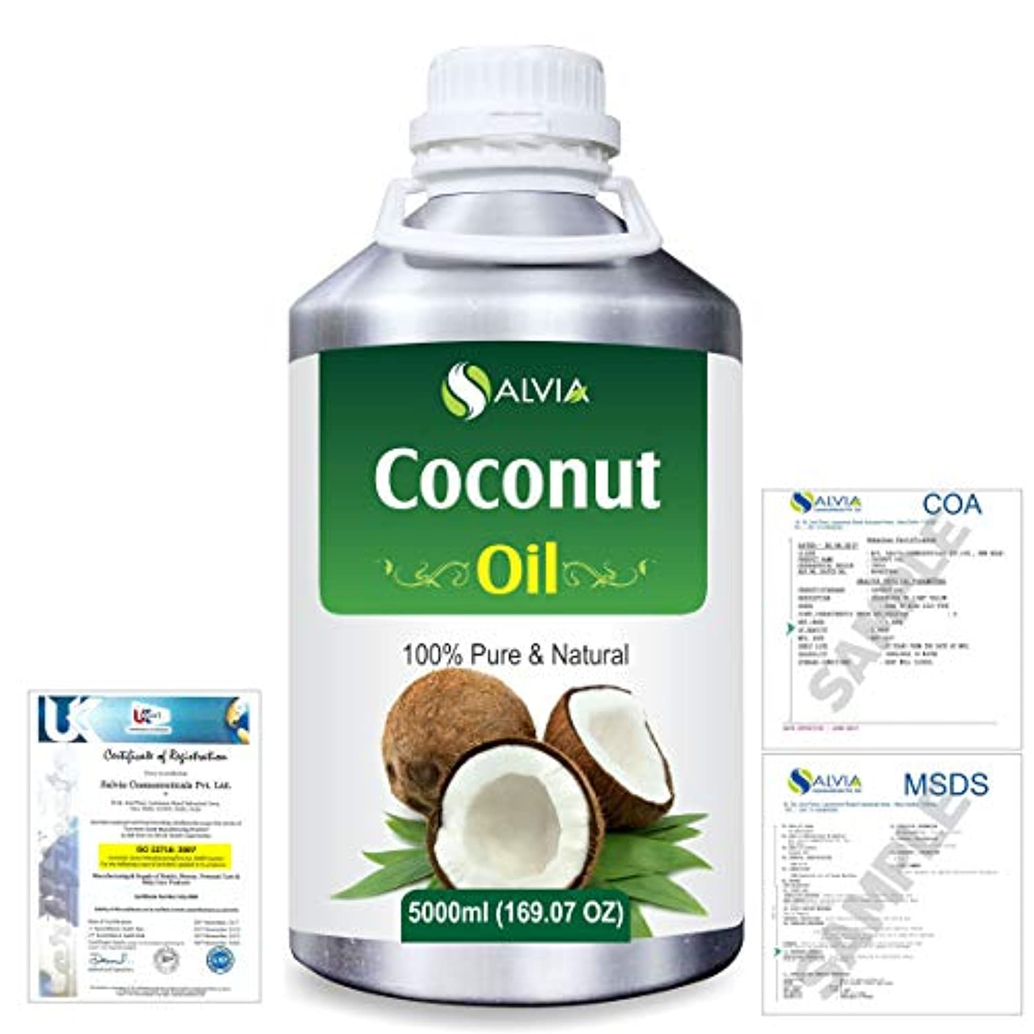 十分貫通する売り手Coconut (Cocos nucifera) Natural Pure Undiluted Uncut Carrier Oil 5000ml/169 fl.oz.