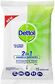 Dettol 2 in 1 Hands and Surfaces Anti-Bacterial Wipes (Count of 15)