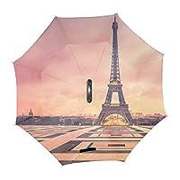 逆さ傘 逆折り式傘 自立傘 エッフェル塔の冬晴雨兼用 uvカット 手離れC型手元 撥水 耐風 丈夫 濡れない 車用 ビジネス用