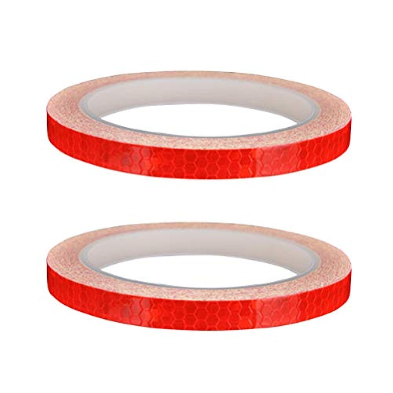 抑止する怪物道徳教育LIOOBO 2本自転車ホイール反射ステッカーバイクオートバイホイールセーフティサイクリングホイールリムステッカーデカールテープ(赤)