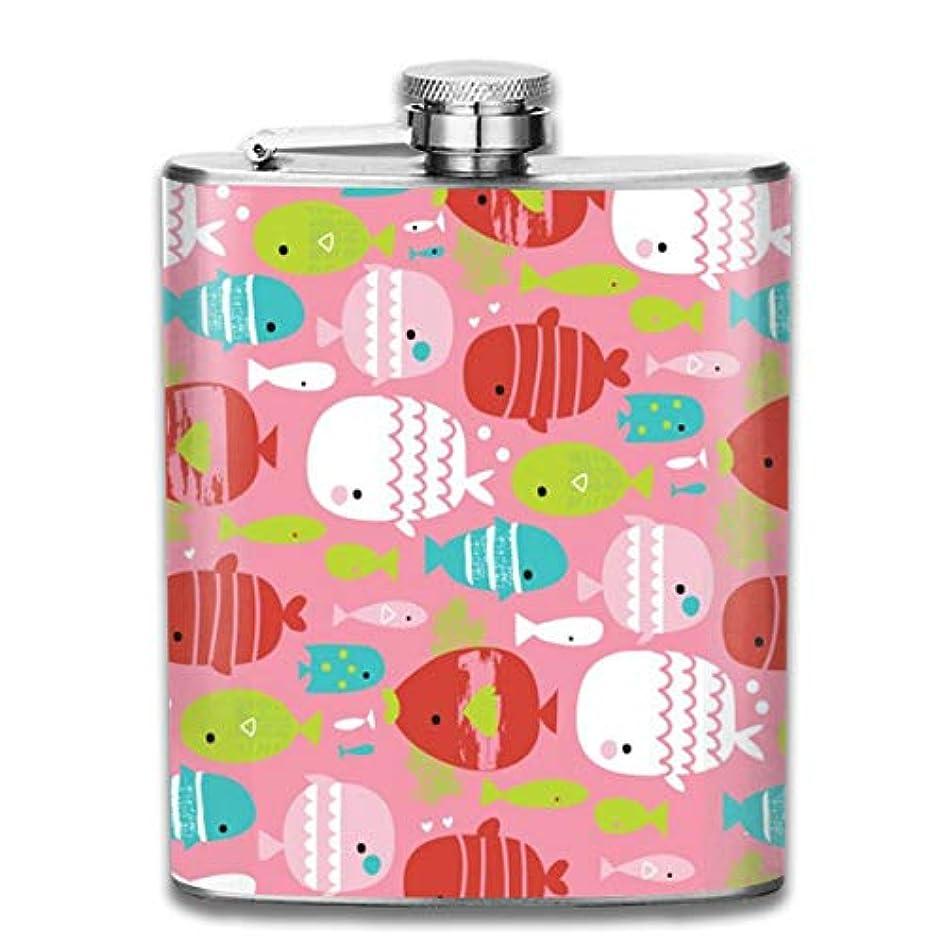 イヤホンファンタジー極小かわいい魚柄フラスコ スキットル ヒップフラスコ 7オンス 206ml 高品質ステンレス製 ウイスキー アルコール 清酒 携帯 ボトル
