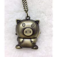 Cartoon Pig Nurse Pocket Watch Necklace Hanging Watch Clothes Ornament Watch