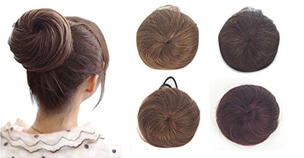 ZAIQUN 100%人毛シニョンヘア派手なシュシュパンおしっこヘアエクステンションウェーブカーリーメッシードーナツヘアピースヘアリボンポニーテールエクステンション(20g)
