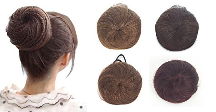 ボウリング長くするカエルZAIQUN 100%人毛シニョンヘア派手なシュシュパンおしっこヘアエクステンションウェーブカーリーメッシードーナツヘアピースヘアリボンポニーテールエクステンション(20g)