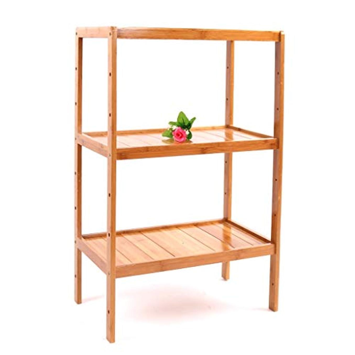 表面ショッキング連邦家庭用棚収納ラック小さな本棚リビングルームキッチン収納棚三層竹 (Color : WOOD COLOR, Size : 62*30*80CM)