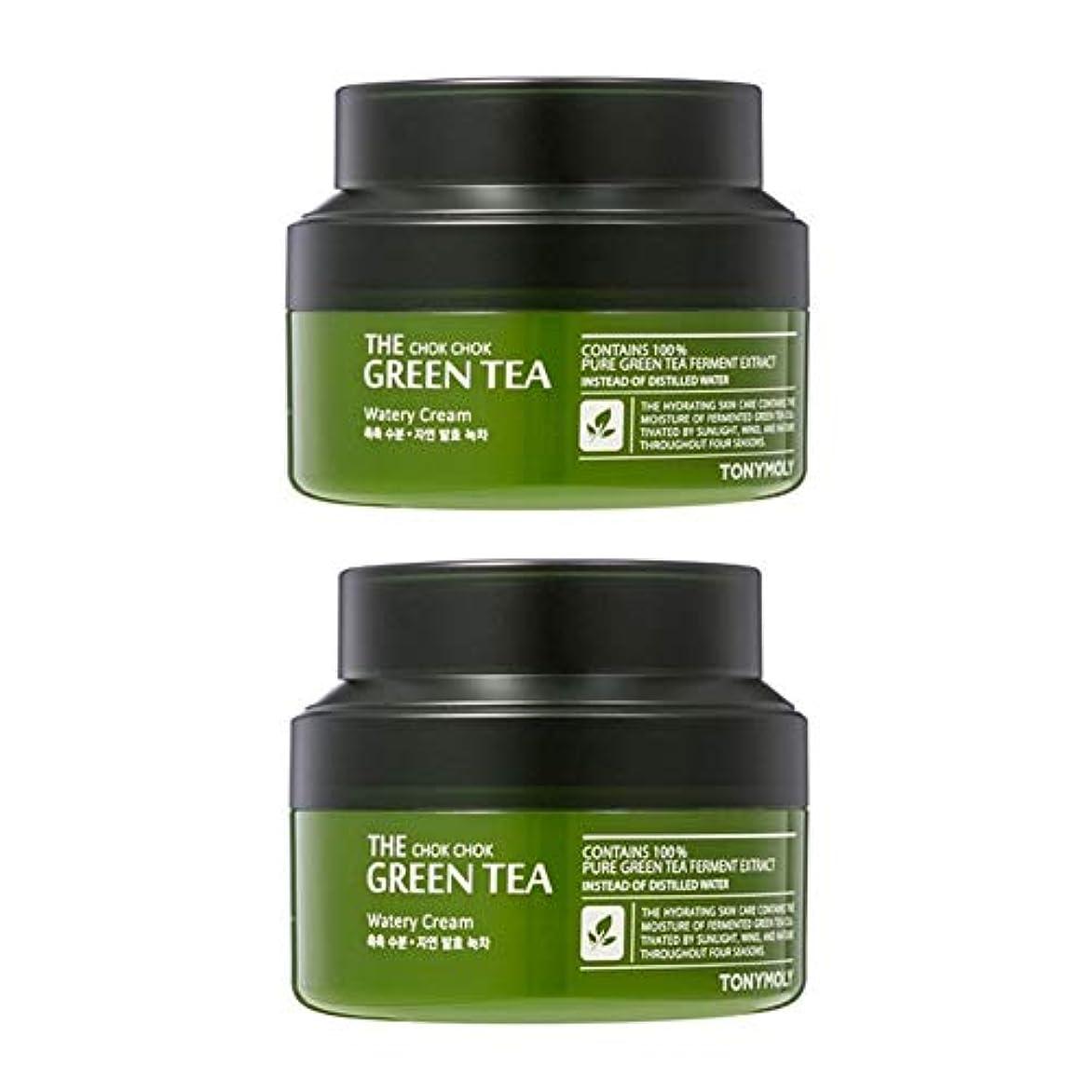 クール部有名なトニーモリーグリーンティーの水分クリーム60ml x 2本セット、Tonymoly The Chok Chok Green Tea Watery Cream 60ml x 2ea Set [並行輸入品]