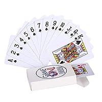 Lyhao 54pcs /デッキカード防水プラスチックブラックトランプポーカーカードクラシックマジックカードトリックツール(ホワイト)