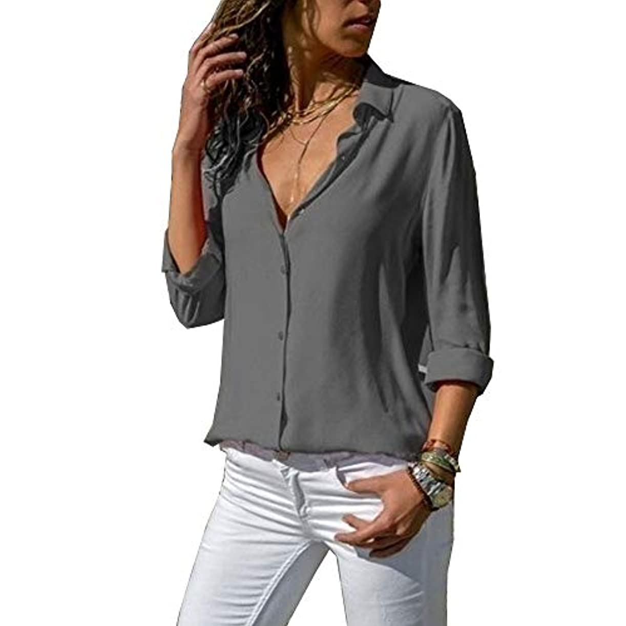 なにせせらぎソビエトMIFAN ルーズシャツ、トップス&Tシャツ、プラスサイズ、トップス&ブラウス、シフォンブラウス、女性トップス、シフォンシャツ