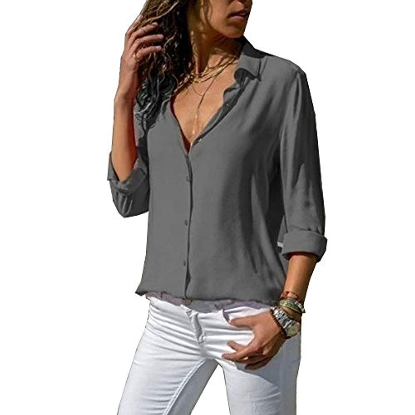 数字答え法令MIFAN ルーズシャツ、トップス&Tシャツ、プラスサイズ、トップス&ブラウス、シフォンブラウス、女性トップス、シフォンシャツ