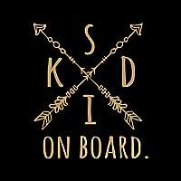 KIDS ON BOARD カッティング ステッカー ゴールド 金