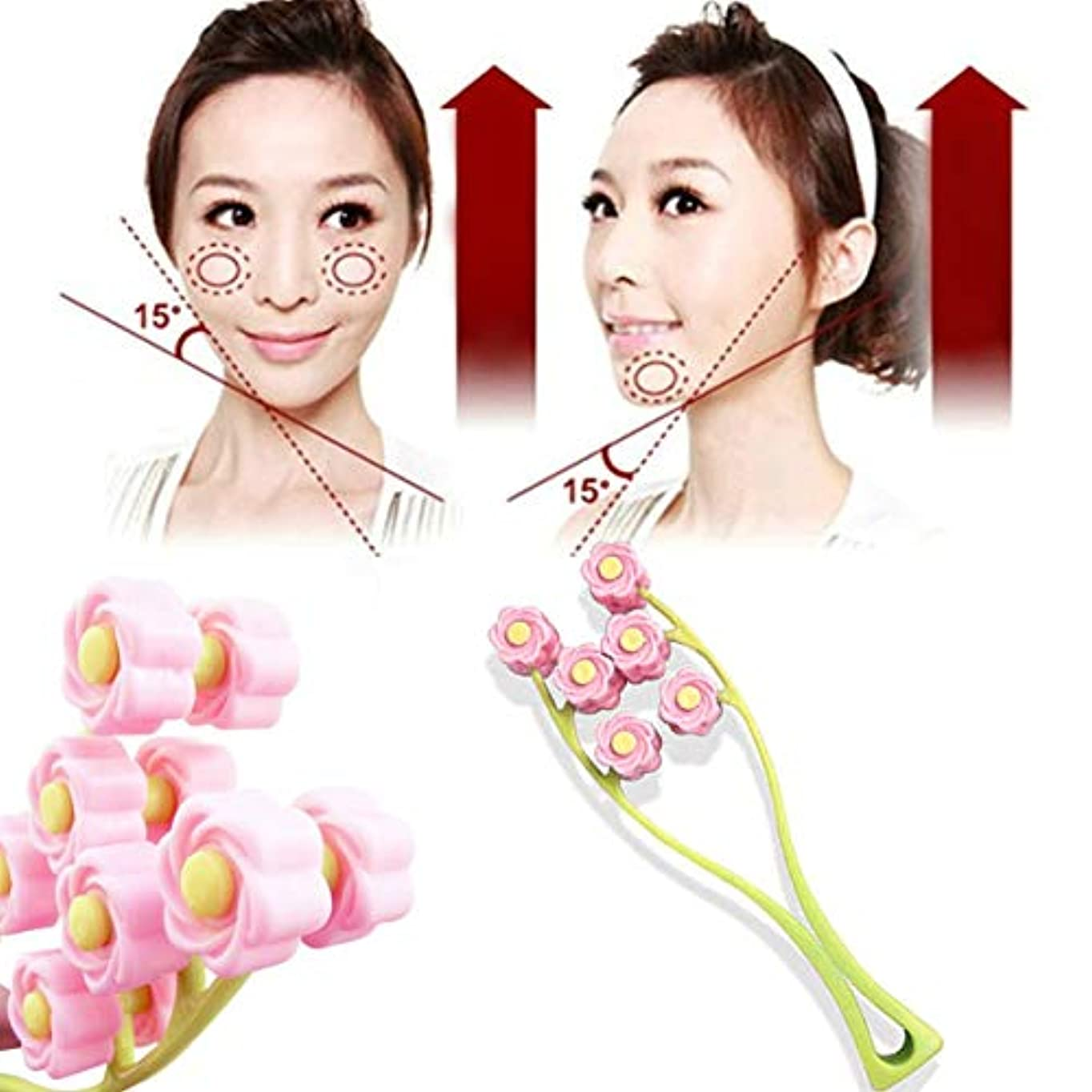 コミュニティエミュレーション敬礼Elegant Flower Shape Portable Facial Massager Roller Anti-Wrinkle Face Lifter Slimming Face Shaper Relaxation...