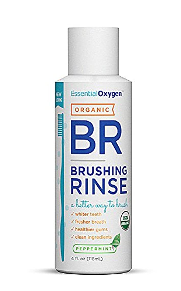 敷居助けてなぜ海外直送品Essential Oxygen+ Brushing Rinse, Peppermint 4 oz by Raw Essentials Living Foods