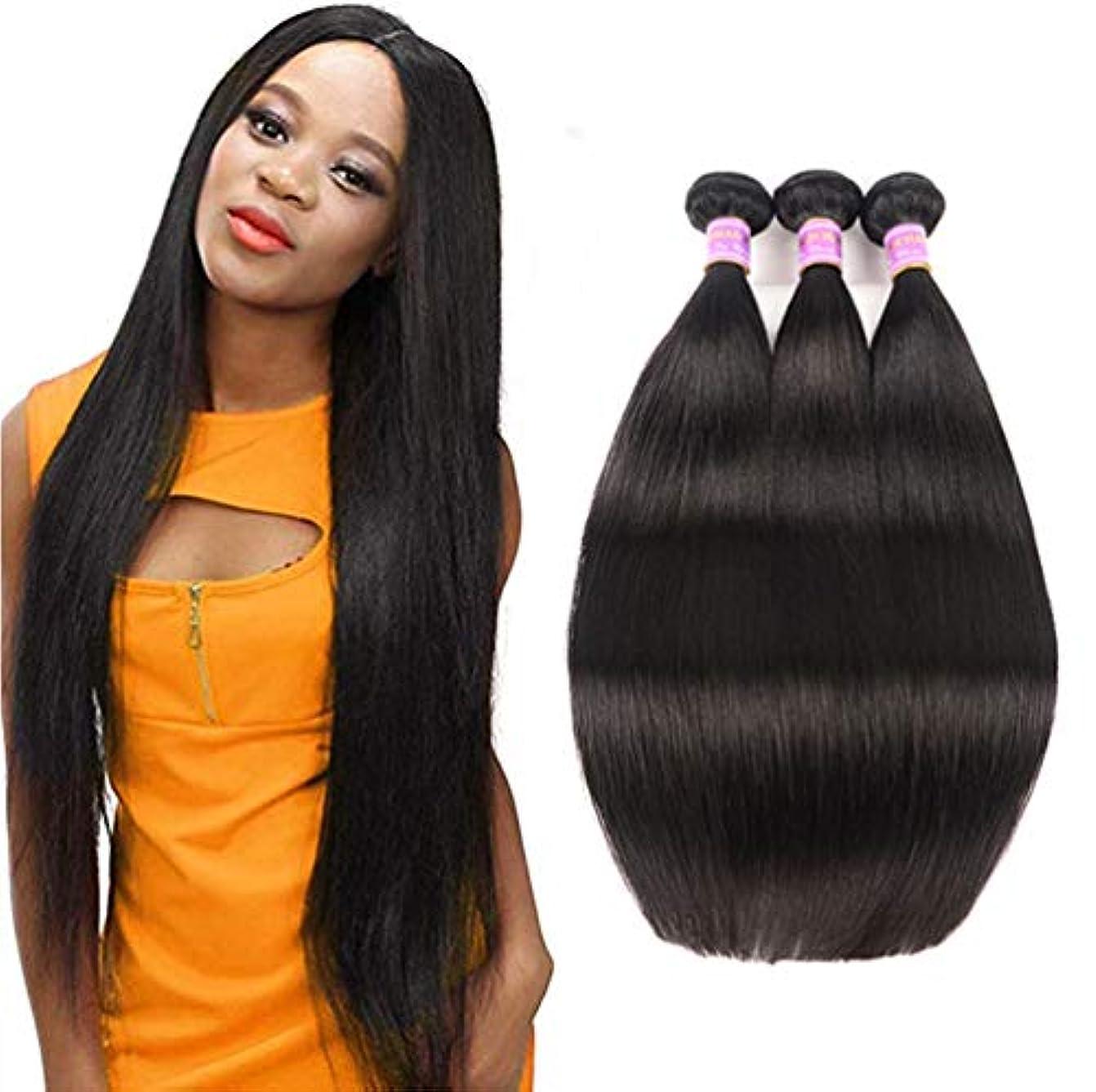 推定する生息地改修ブラジルのまっすぐな人間の毛髪3の束の絹のようなまっすぐなバージンの人間の毛髪の織り方延長自然な300g