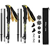 Glymnis Trekking Poles Hiking Poles Walking Sticks 2 Pack Adjustable Foldable Lightweight for Hiking Climbing Backpacking with EVA Grip Including 10 Pcs Accessories