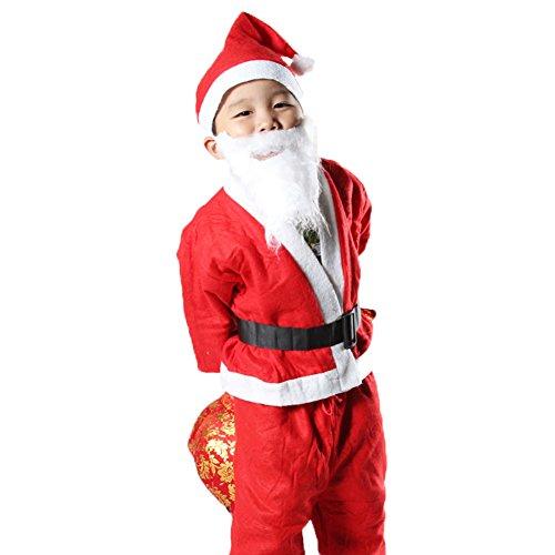 ワンース (Wansi) ベビー 子供 女の子 男の子 クリスマス Xmas パーティー サンタ ハロウィン コスプレ 衣装 コスチューム 舞台装 演出服 タイツ 可愛い 服 上着+ズボン+帽子+ベルト+髭 C L