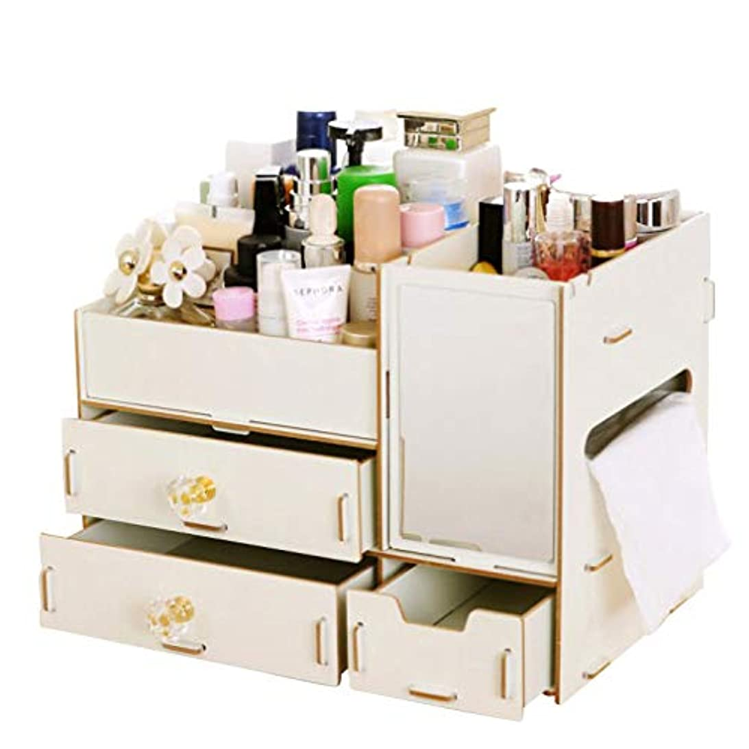 はちみつカニハリケーン伊耶那美(イザナミ) 化粧品 コスメ ジュエリー 収納 ボックス メイクボックス 木製 組み立て式(白色)