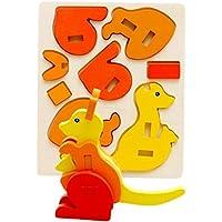 HuaQingPiJu-JP 創造的な木製の3D動物のパズルアーリーラーニング番号の形の色の動物のおもちゃ子供のための素晴らしいギフト(カンガルー)
