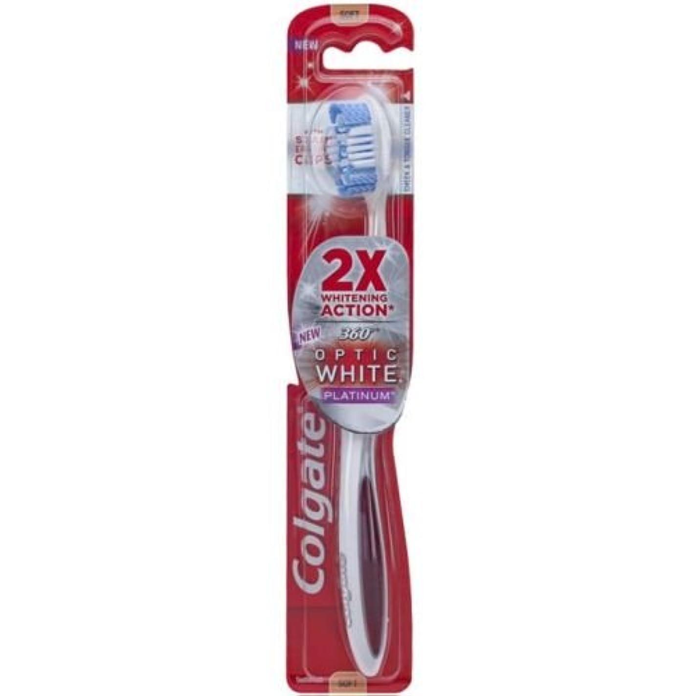 離婚討論布Colgate オプティックホワイトコンパクトヘッドミディアム毛の歯ブラシプラスホワイトニングペンジェル - ケースあたり6。