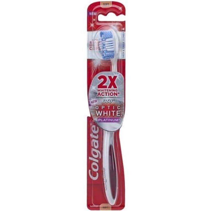 Colgate オプティックホワイトコンパクトヘッドミディアム毛の歯ブラシプラスホワイトニングペンジェル - ケースあたり6。