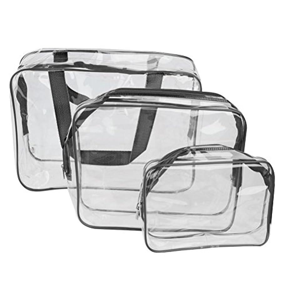 邪魔する昇進傷つきやすいROSENICE 旅行出張用 透明化粧品バッグ ブラック