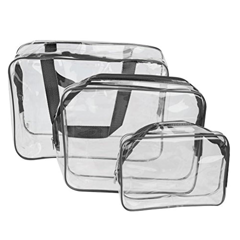 監督する叱る圧縮ROSENICE 旅行出張用 透明化粧品バッグ ブラック