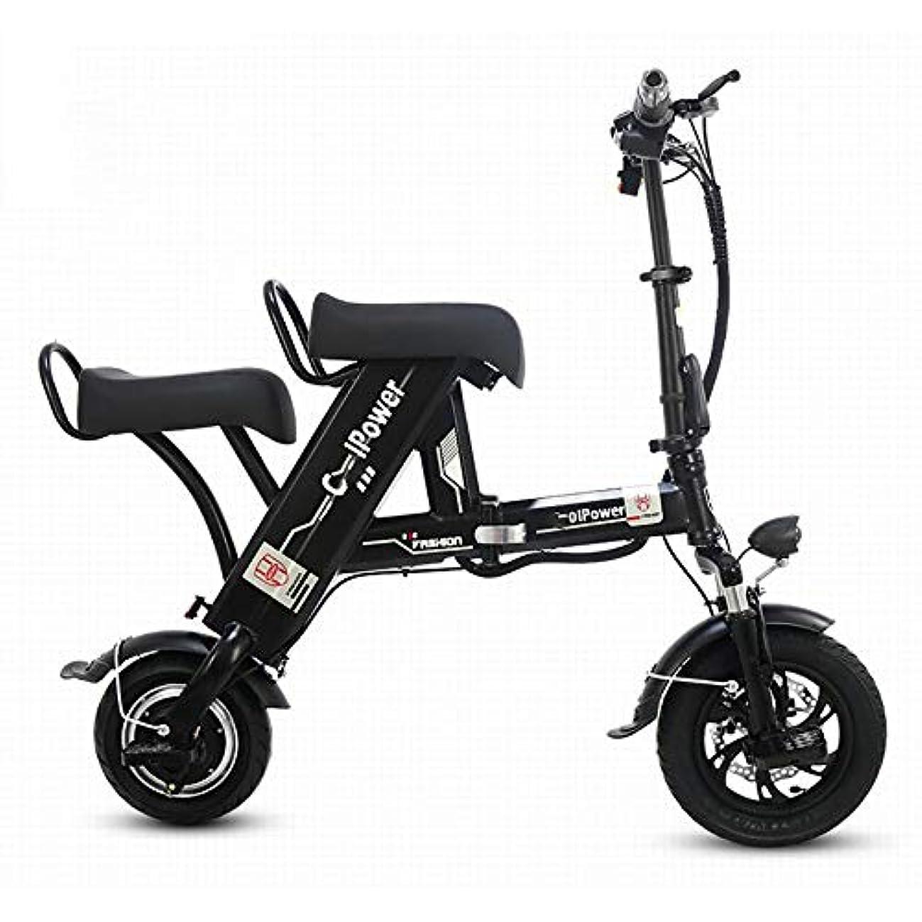 頭痛石灰岩啓示ダブル電動自転車、カップルに最適、500W折りたたみ式ポータブル電動スクーター、衝撃吸収快適シート、250kg真空タイヤ、旅行に最適