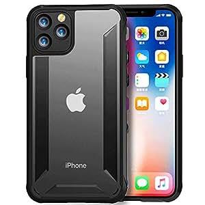IPhone 11ケース、クリア保護ハイブリッドハードPC背面、フレキシブルTPUバンパー[アンチイエロー]透明ケースカバー,5.8-Black