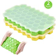 Ice Cube Trays with Non-Spill Lid (2 Packs) Silicone Shapes Ice Cube Molds, BPA Free Ice Tray Used for Freezer