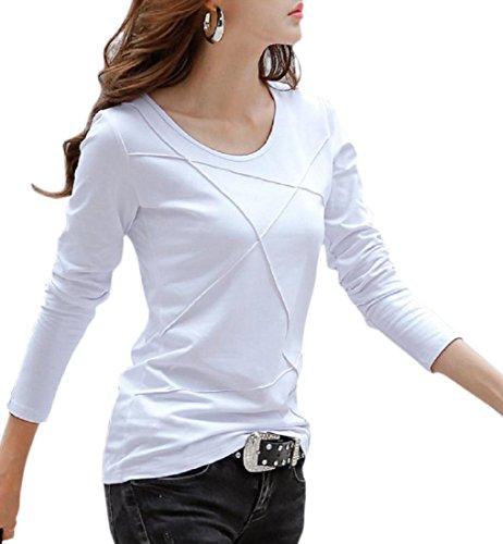 [ルナー ベリー] レディース 長袖 カットソー ロング Tシャツ パイピングデザイン 2タイプ 3203 (M, ホワイト_長袖) 白t 服 丈 オシャレ ジャージ リラックス 可愛い 3203 (M, ホワイト_長袖)