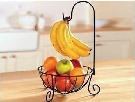 オシャレ シンプル バナナ ツリー フルーツ バスケット スタンド お菓子入れ アイアン製 (ブラック)