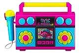 トロールズ ワールドツアー ブームボックス マイク付き 音楽内蔵 点滅ライト リアル動作マイク 子供用 カラオケマシン MP3プレーヤーAUXをオーディオデバイスに接続