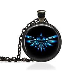 Zelda Triforceブラックベゼルペンダントネックレスamzn5