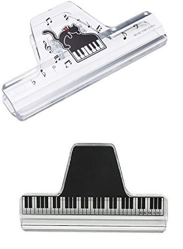ナカノ ミュージック ブック クリップ クリア 鍵盤 CLW-30/C/KB ネコとピアノ CLW-30/C/NP 2セット