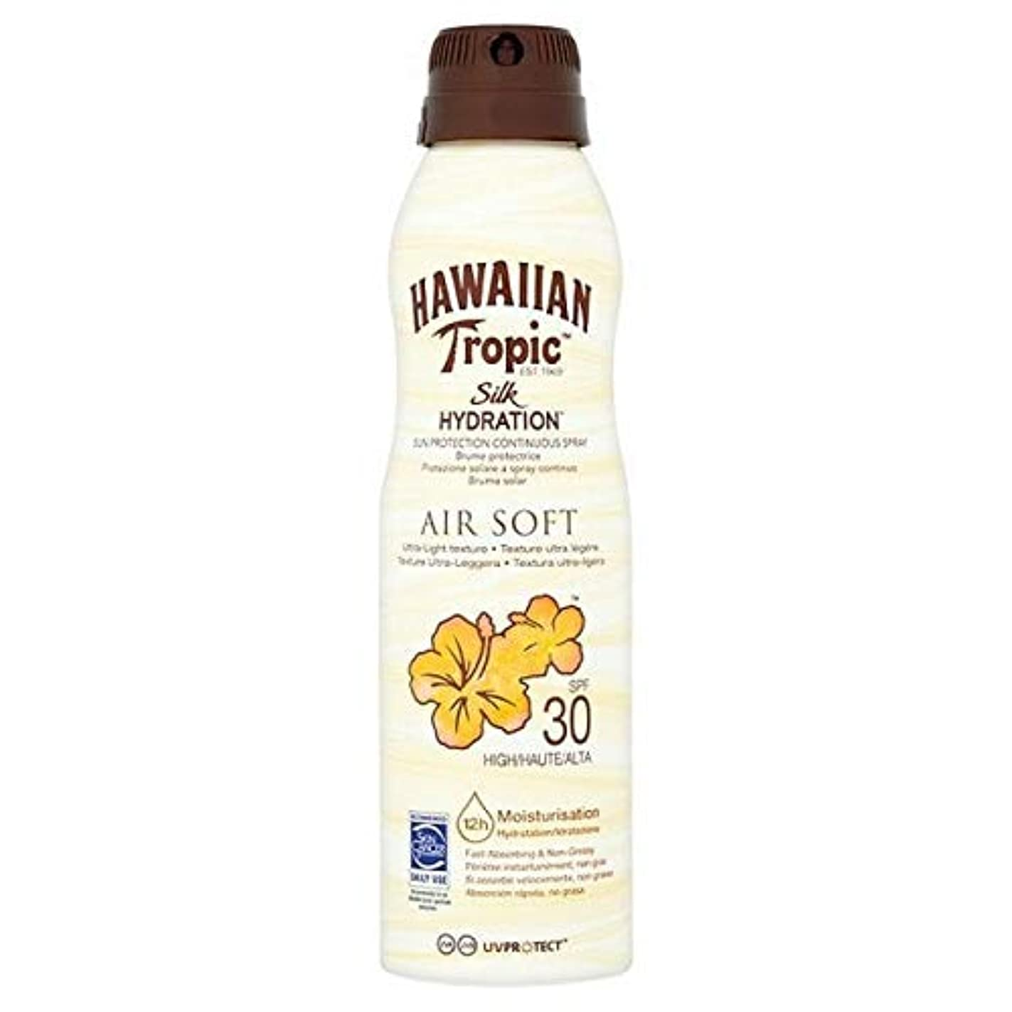 費用彼女継承[Hawaiian Tropic ] H /向性絹水和エアガン連続スプレーSpf30の177ミリリットル - H/Tropic Silk Hydration Airsoft Continuous Spray SPF30...