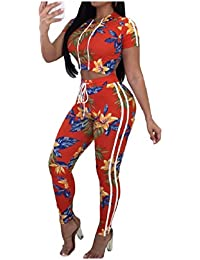 AngelSpace 女性のフードトップス作物ロングパンツジャンプスーツ2ピース衣装