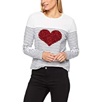 French Connection Women's Longsleeve Sequin Heart TEE, Summer White/Nocturnal