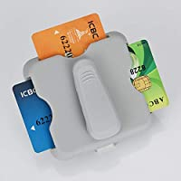ACHICOO カー サンシェード サングラスクリップボックス オーガナイザーケース サンバイザー バッグカードホルダー インテリアカーアクセサリー グレー