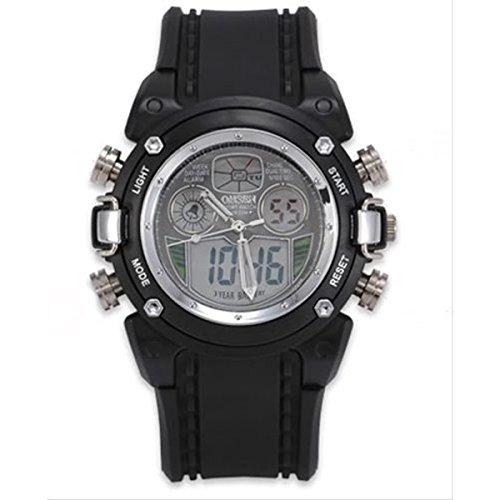 【ノーブランド】OHSEN腕時計/アナログデジタル表示/防水 タイマー アラーム ストップウォッチ バックライト機能/ カジュアル メンズ レディース ウォッチ スポーツ (黒 ブラック)