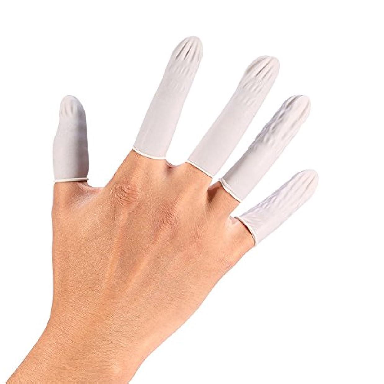 瞑想するスカリーマディソンHEALLILY 使い捨てジェルフィンガープロテクターラテックスフィンガーベビーベッドフィンガーカバーフィンガーキャップフィンガースリーブ(ホワイト)