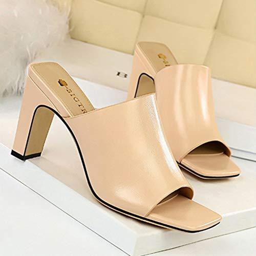 [シュウアン]スリッパサンダルレディース高さ8.5cmオフィス女性ヌードカラー夏痛くない24.5cmおしゃれ歩きやすい履きやすい軽いヒールチャンキーヒール靴シューズパンプス太ヒールオープントゥ