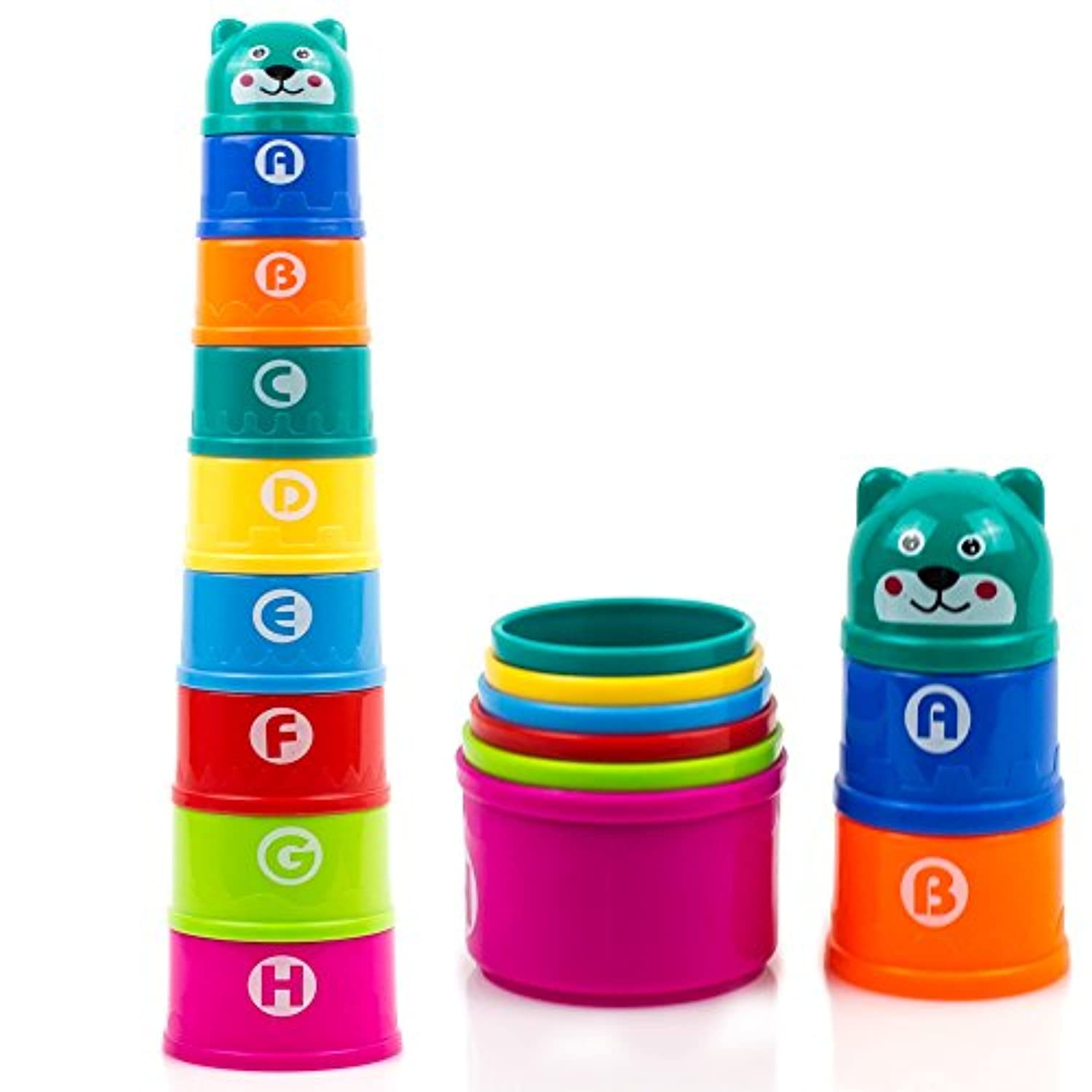 toysery Nesting & Stackingカップwith Numbers Letters &動物おもちゃfor Toddlers – Bath Toy for Kids、8パック