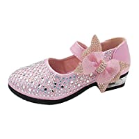 Zhhlinyuan 品質の良い姫靴 Kids Low Heels Princess Dress Shoes Sweet 女の子 Glitter Party Shoes D02