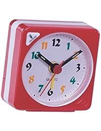 Baosity シンプル 美しい 目覚まし時計 ミニサイズ 旅行 時計 グラデーションの音 スヌーズ機能 ナイトライト 全4色選べる - 赤