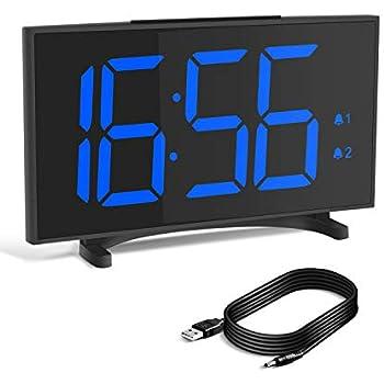 YISSVIC デジタル時計 置き時計 目覚まし時計 卓上時計 スヌーズ機能 ダブルアラーム 6.5インチ大型LED USB電源式 明るさ調整可能 音量調整可能 大音量 おしゃれ USBケーブル付き 部屋/オフィス/台所用