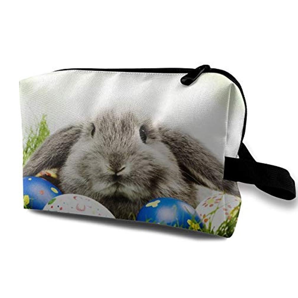 バックアップ沿って頭Happy Easter Bunny 収納ポーチ 化粧ポーチ 大容量 軽量 耐久性 ハンドル付持ち運び便利。入れ 自宅?出張?旅行?アウトドア撮影などに対応。メンズ レディース トラベルグッズ