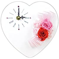 Lulu's プリザーブドフラワー ハート時計 サイズ幅18cm長さ6cm高さ18cm ピンク Lulu's-0023