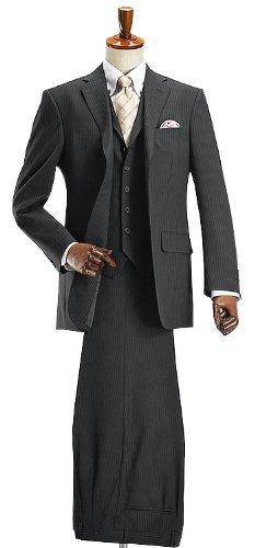 (プラモニー) pramony ブリティッシュ段返り3ツボタンスリーピーススーツ:B:ブラックピンストライプ SC0627G41RM024-990BE-7号(LL)(洗える パンツウォッシャブル メンズ ジレ 衿付きベスト 3ピース ビジネス 結婚式 セレモニー 冠婚葬祭) -